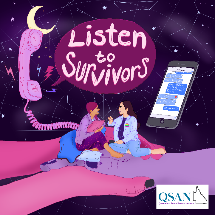 An illustration of two women talking, sitting comfortably on oversized clasped hands like a couch next to a telephone handle with the words Listen to Survivors coming out of the speaker